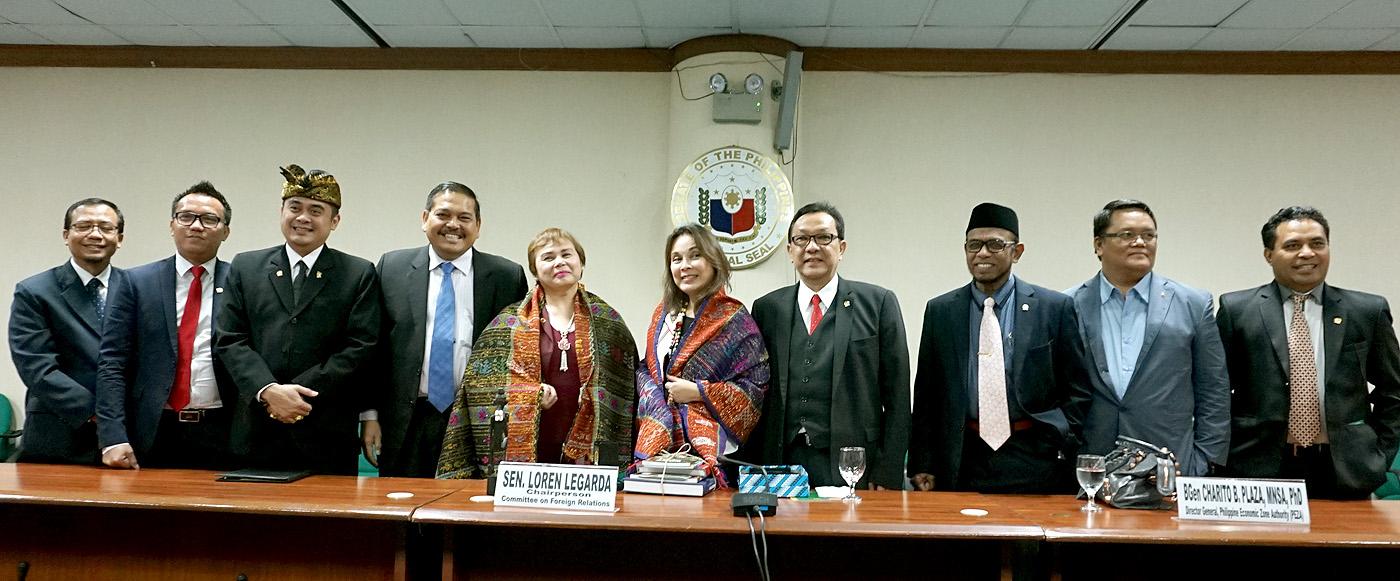 Senator Loren Legarda receives in the Senate a delegation from the House of Regional Representatives of the Republic of Indonesia
